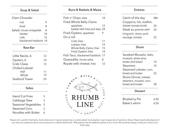 rhumb line menu